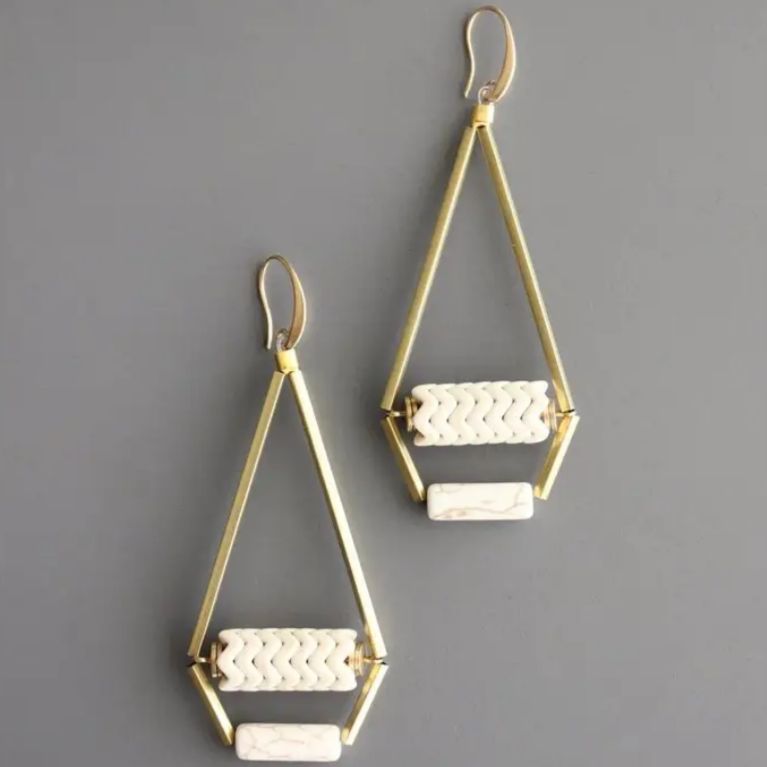 Brass Hook Earrings with Magnesite