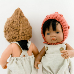 "Knitted Popcorn Bonnet: fits 15"" Miniland Doll"