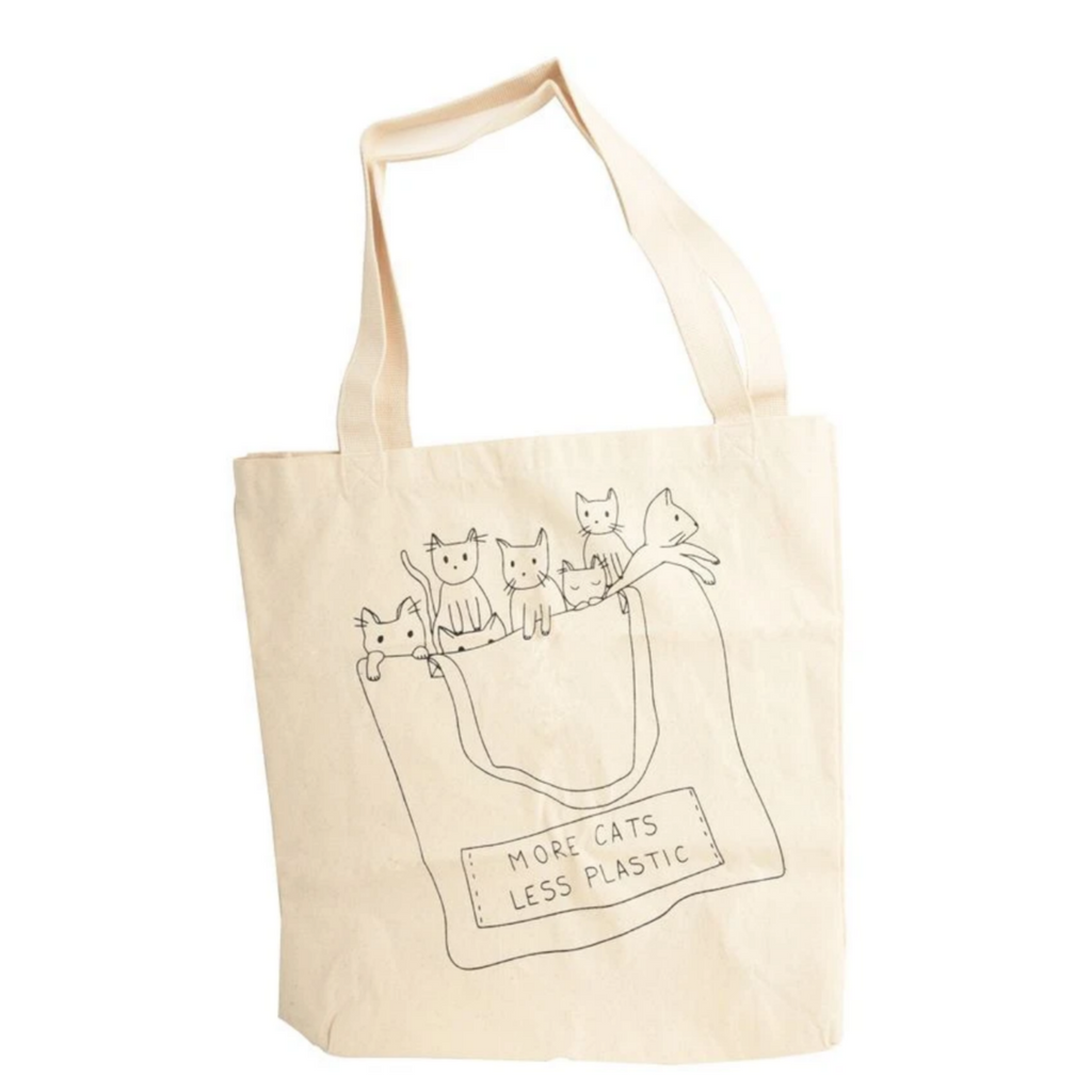 More Cats Less Plastic Printed Cotton Tote Bag