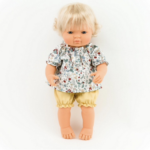 "Floral Tunic and Honey Bloomers (Two Piece Set): fits 15"" Miniland Doll"