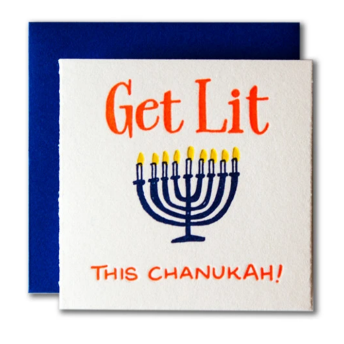 Tiny Card  Get Lit This Chanukah -Hanukkah