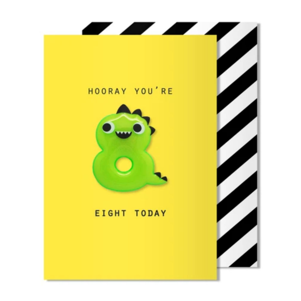 Age 8 Dino Magnet Card -Birthday