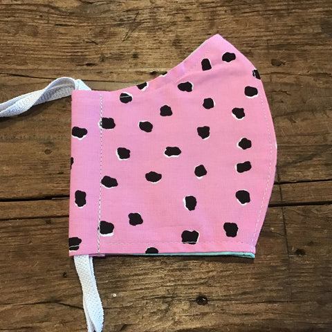 Minor Thread Face Mask Pink with Black Dots -kids/ adult medium