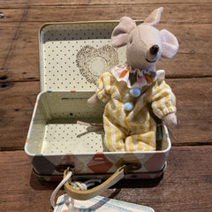 Circus Clown Mouse in Suitcase