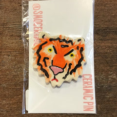 Sad Tiger Ceramic Pin