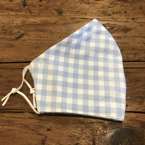 Light Blue Gingham -kid's sm/med/lg & adult(one size)