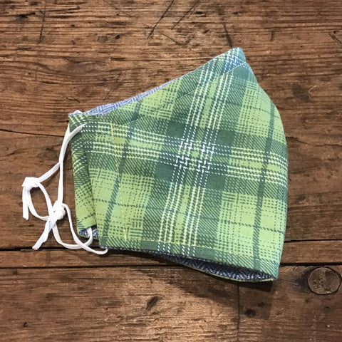 Green Plaid Face Mask -kid's sm/med/lg & adult(one size)