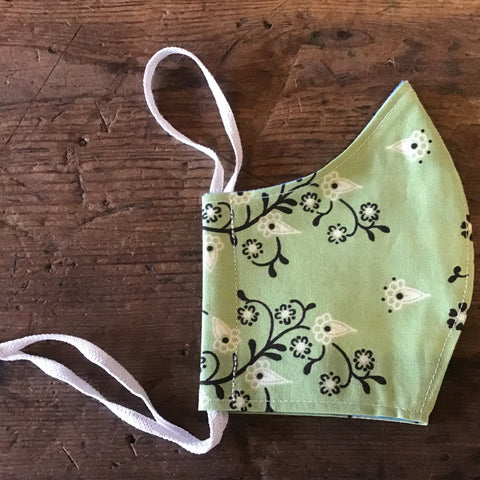 Minor Thread Face Mask Green Paisley -Medium & Large