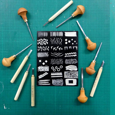 Using Different Tools to Make Marks on Lino