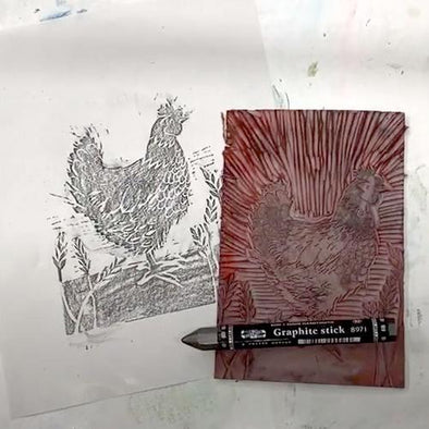 Taking a Quick Proof of your Linocut with a Rubbing