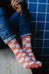 CHECKER Socks, Coral