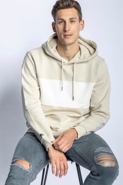 Color Block Hoodie Unisex, Beige/Off-White