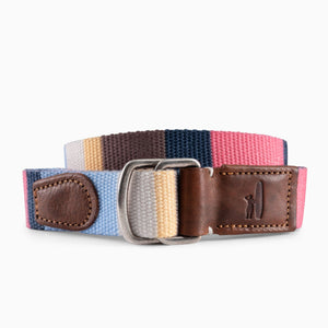 Men's Striped D-Ring Belt