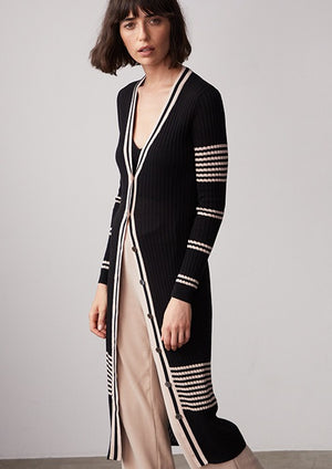 Placement Stripe Rib Maxi Cardigan