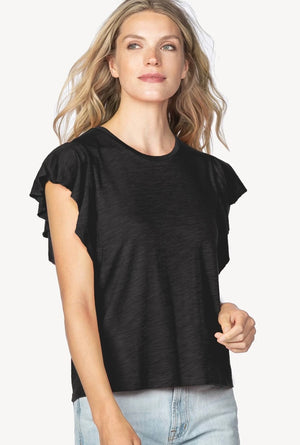 Flutter Sleeve Jewel Neck Tee