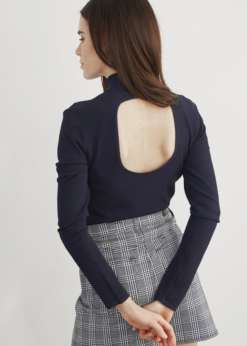 Porthole Back Mock Sweater