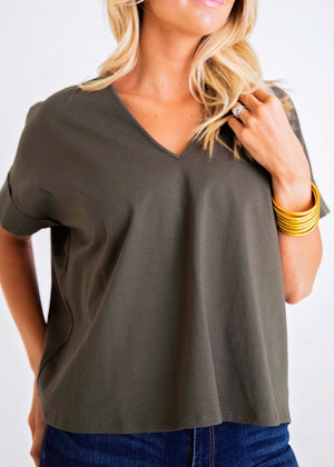 Solid Knit VNeck Top