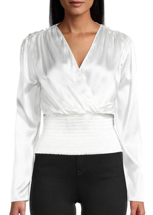 Solid Stretch Charmeuse Blouse