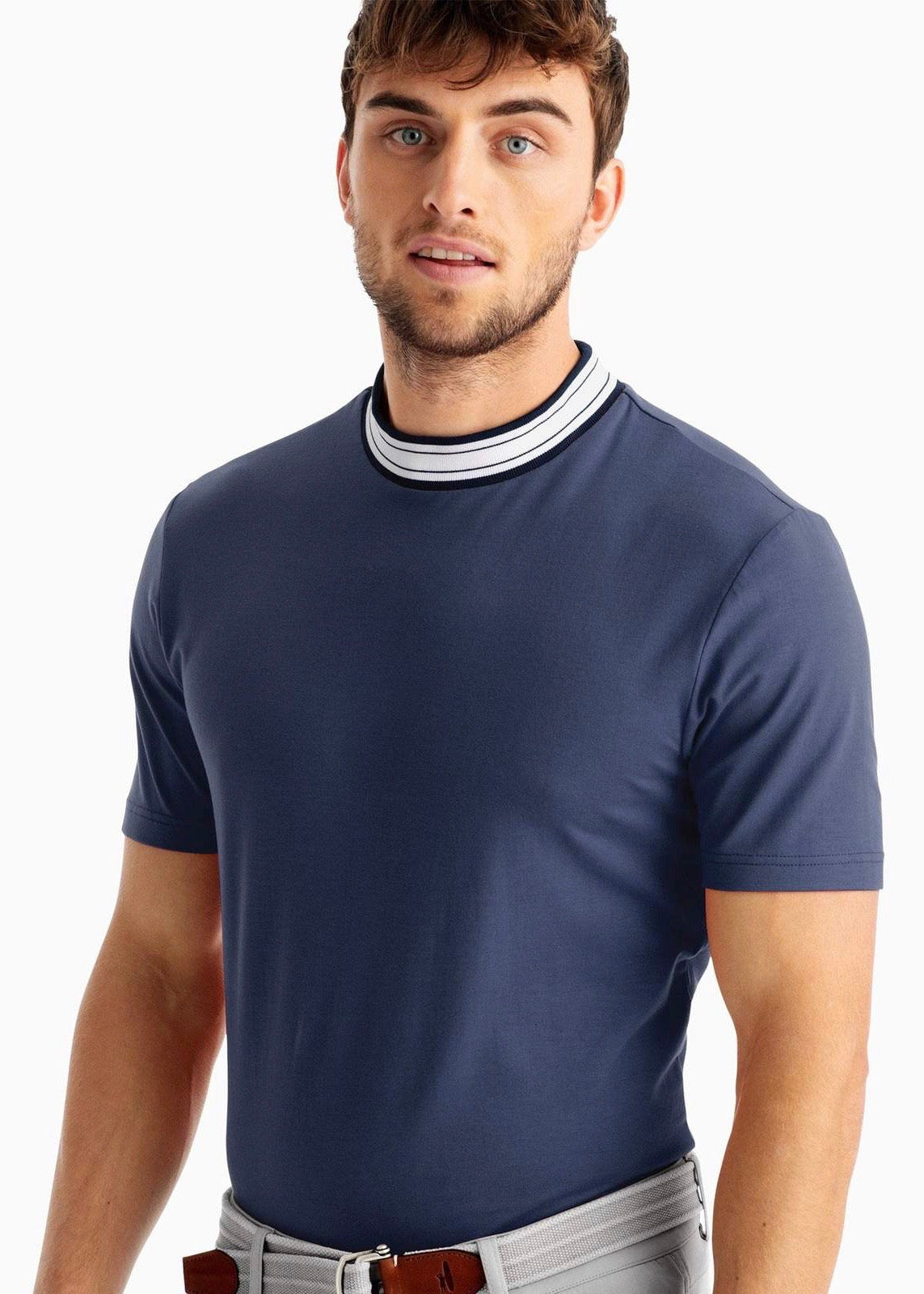 Mens Fringe Collar Polo