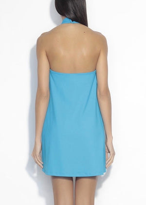 Gathered Neck Halter Dress