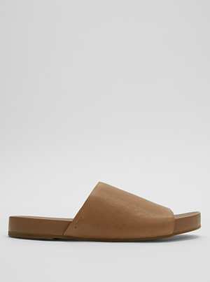 Mask Tumbled Leather Slide Sandal