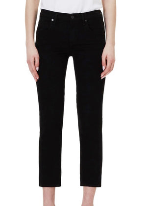 Elsa Mid Rise Slim Fit Crop Sueded Black