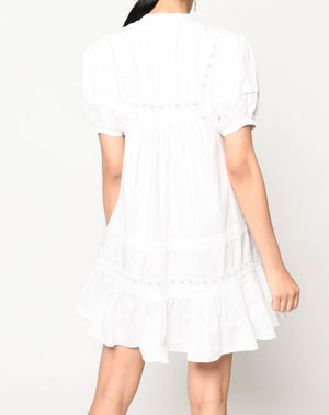 Cotton Poplin Embroidered Mini Dress