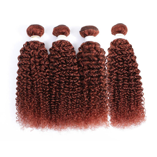 4 Human Hair Bundles Auburn Red Kinky Curly (33#)
