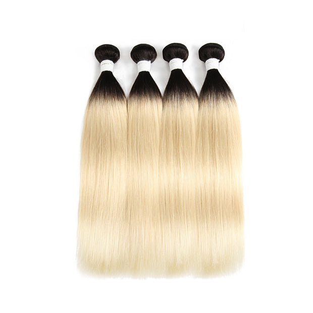 Straight Ombre Blond Remy 4 Human Hair Bundles 8''-26'' (1B/613) (3947303436358)