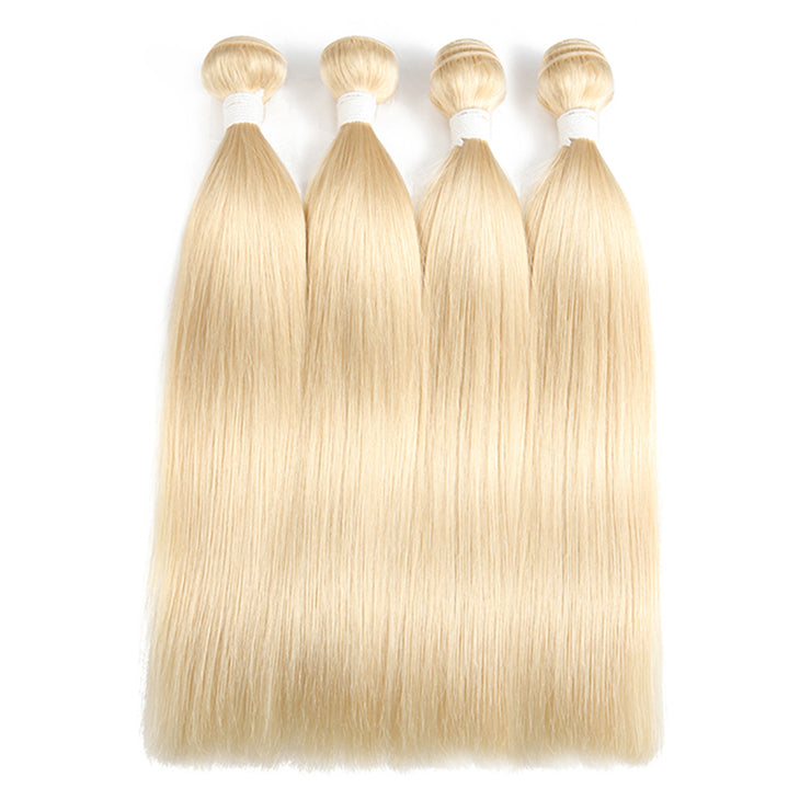 Straight 613 Blond Remy 4 Human Hair Bundles 8''-26'' (3578606256228)