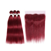 Kemyhair Human Hair 3 Bundles with 4×13 Lace Frontal Straight (Burgundy)
