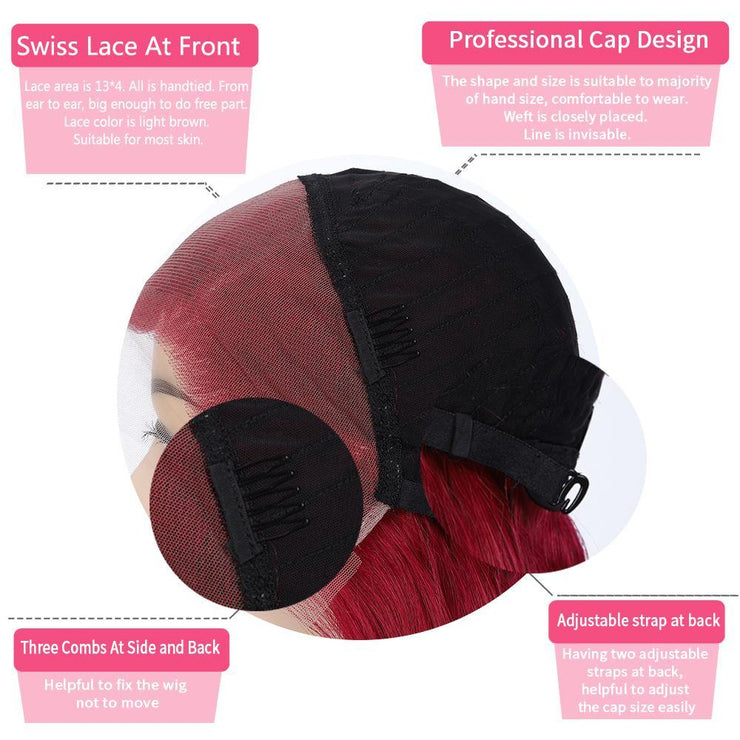Custom Burgundy Red Human Hair Lace Front wigs 16''-28'' (BURG) (4366461239366)