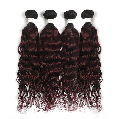 Ombre Maroon Red Water Wave 4 Hair Bundles (T1B/99J) (4339222937670)