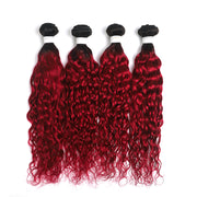 Ombre Burgundy Red Water Wave 4 Hair Bundles (T1B/BURG) (4346902642758)