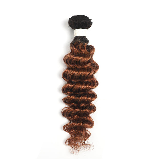 Ombre Brown Ginger Deep Wave Hair Bundle (T1B/30) (4374787063878)