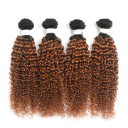 Ombre Brown Ginger Kinky Curly 4 Hair Bundles (T1B/30) (4375187456070)