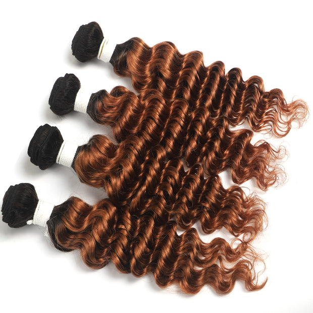 Ombre Brown Ginger Deep Wave 4 Hair Bundles (T1B/30) (4374806954054)