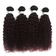 Ombre Maroon Red kinky curly 4 Hair Bundles (T1B/99J)
