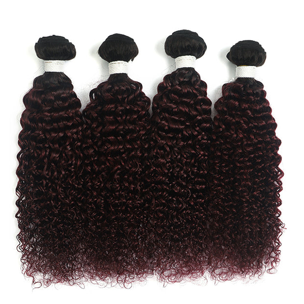 Ombre Maroon Red kinky curly 4 Hair Bundles (T1B/99J) (4339269435462)