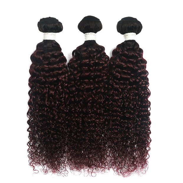 Ombre Red Wine kinky curly 3 Hair Bundles with One Free/Middle Part 4×13 Lace Frontal(T1B/99J) (4340079329350)
