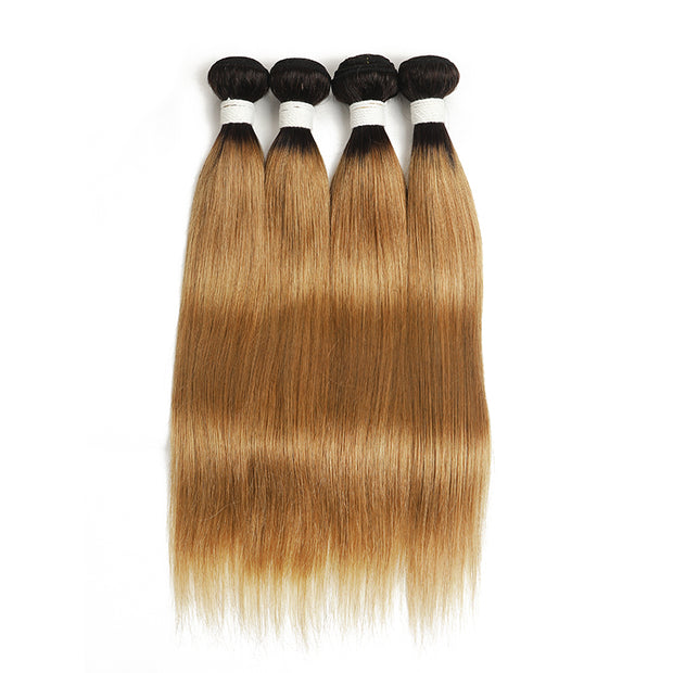 Straight Ombre 27 Four Human Hair Bundles 8''-26'' (4249236340806)