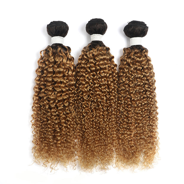 Ombre Honey Blonde Kinky Curly 3 Human Hair Bundles