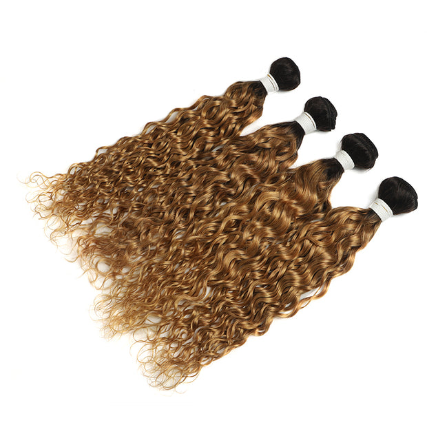 Ombre Honey Blonde Water Wave 4 Human Hair Bundles (4330223665222)