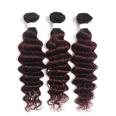 Ombre Red Wine Deep Wave 3 Hair Bundles (T1B/99J) (4337340186694)