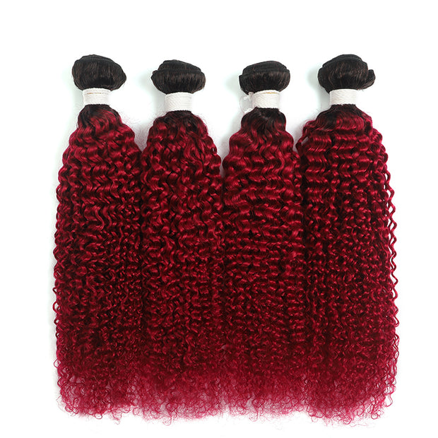 Ombre Burgundy Red Kinky Curly 4 Hair Bundles (T1B/BURG)