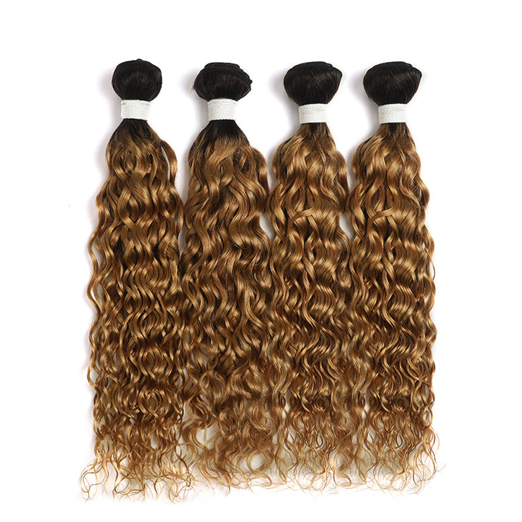 Ombre Honey Blonde Water Wave 4 Human Hair Bundles