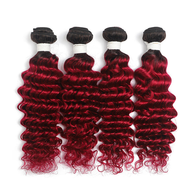 Ombre Burgundy Red Deep Wave 4 Hair Bundles (T1B/BURG) (4346749124678)