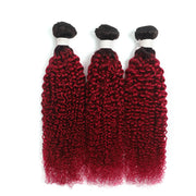 Ombre Burgundy Red Kinky Curly 3 Hair Bundles (T1B/BURG)