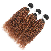 Ombre Ginger Brown Kinky Curly 3 Hair Bundles(T1B/30) (4375122149446)