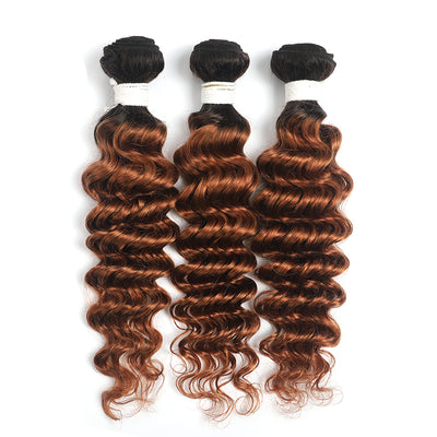 Ombre Ginger Brown Deep Wave 3 Hair Bundles(T1B/30) (4374791159878)